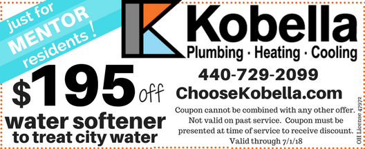 $195 off water softener to treat city water in Mentor, OH