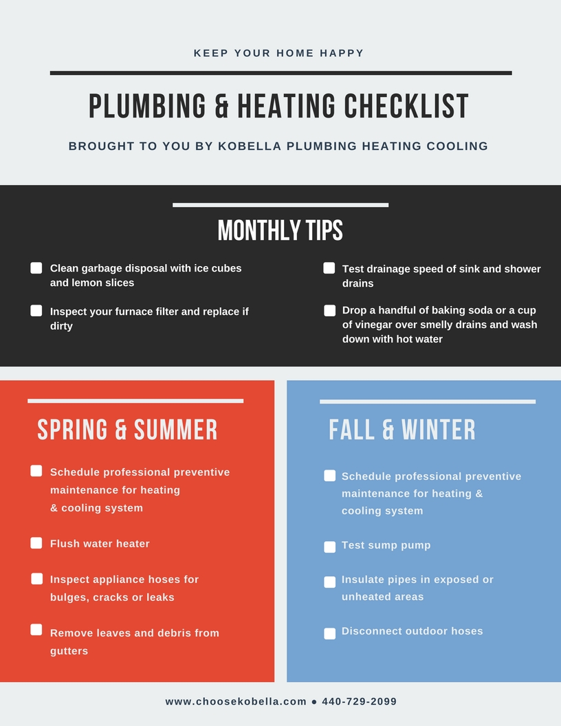 new home maintenance plumbing and heating checklist